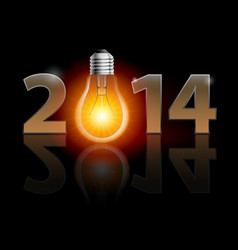 New year 2014 metal numerals with bulb instead of vector