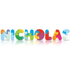 NICHOLAS written with alphabet puzzle vector