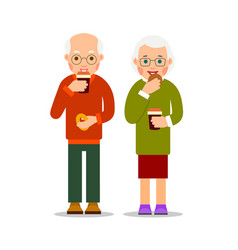 old people drinking coffee and eat cookies aged vector image