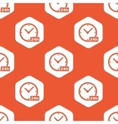 Orange hexagon 24h clock pattern vector
