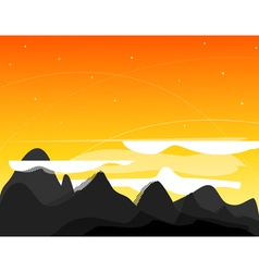Orange picture with mountains clouds and s vector