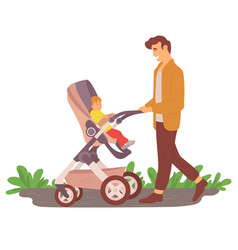 Parenthood man with kid in stroller vector