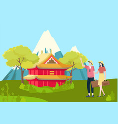 people traveling to china asian country landscape vector image