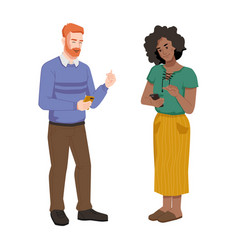 people with smartphones man and woman chatting vector image