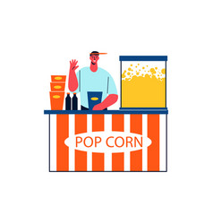 Popcorn seller icon vector