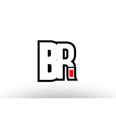 Red and black alphabet letter br b r logo vector