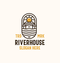river house lineart logo template vector image