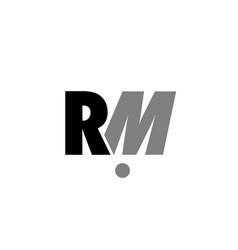 Rm r m black white grey alphabet letter logo icon vector
