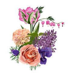 Roses lilies tulips flowers herbs and berries vector