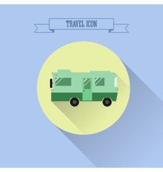 RV camping icon Caravan button in flat design vector