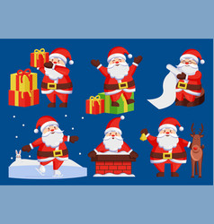 santa claus set of icons vector image