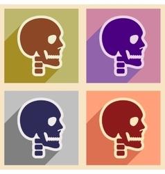 Set flat icons with long shadow human skull vector