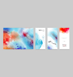 set hand-painted watercolor card and poster vector image