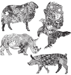 set of animals in the ethnic ornaments vector image