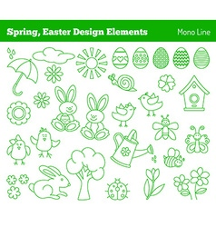 Set of hand drawn Easter design elements vector