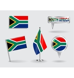 Set of South African pin icon and map pointer vector
