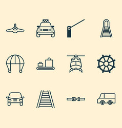 Shipping icons set with railroad auto combat vector