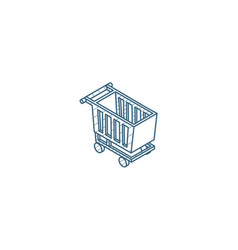 shopping cart isometric icon 3d line art vector image