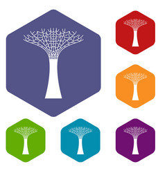 Singapore supertree icons set vector