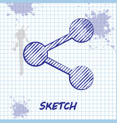 Sketch line share icon isolated on white vector