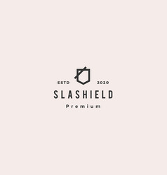 slash shield logo hipster retro vintage icon vector image