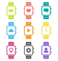 Smart watch icon set vector