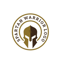 sparta spartan warrior helmet logo emblem badge vector image