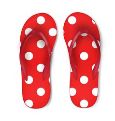 Summertime of red polka dot flip flops isolated vector