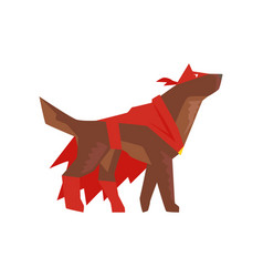 superhero dog character in red cape and mask vector image