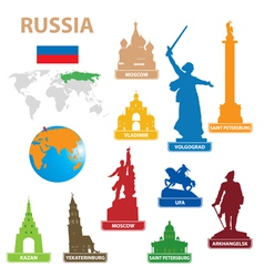 symbols city to russia vector image