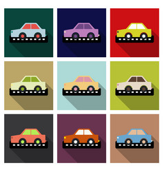 taxi car top view icon taxicab sedan with checker vector image