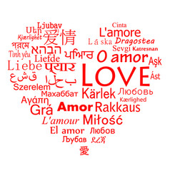 the word love for the most popular languages in vector image