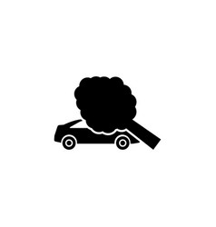 Traffic accident tree fell the car flat vector