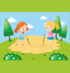 two kids drawing on the ground vector image