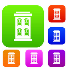 Two-storey house with large windows set collection vector