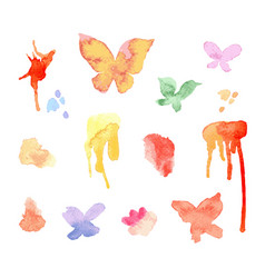 watercolor blots and smudges vector image
