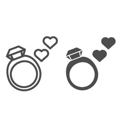 Wedding ring line and glyph icon ring with vector
