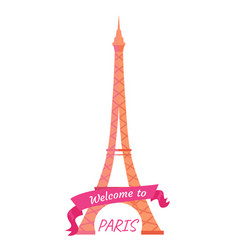 welcome to paris eiffel tower decorated by ribbon vector image