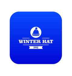 Winter hat icon blue vector