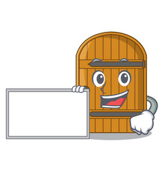With board cartoon wooden door massive closed gate vector