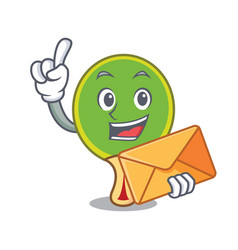 With envelope ping pong racket character cartoon vector