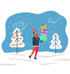 Woman carrying presents for winter holidays vector