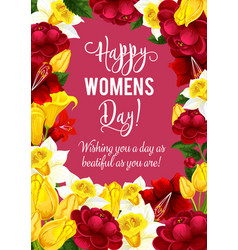 Women day greeting card with spring flower frame vector
