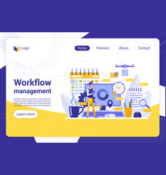 Workflow management flat landing page vector