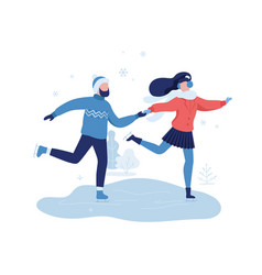 young couple skating in winter park rest zone vector image