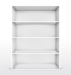3d isolated empty white bookshelf vector image vector image
