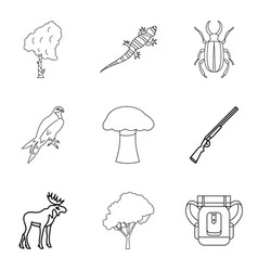 explore the animal world icons set outline style vector image vector image
