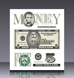 Miscellaneous US bill elements vector image