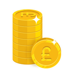 piles gold pounds isolated cartoon icon vector image vector image
