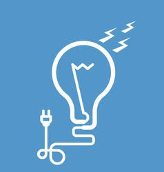 Symbolic light bulb with cord and electric plug vector